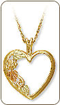 Black Hills Gold Heart Pendant (SKU: 03568)