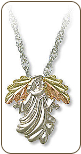 Sterling Silver Angel Pendant with Black Hills Gold Leaves (SKU: 03641SS)