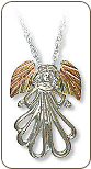 Sterling Silver Angel Pendant with Black Hills Gold Leaves (SKU: 03714SS)