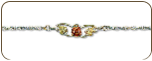 Sterling Silver Bracelet with Black Hills Gold Rose (SKU: 07010SS)