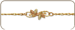 Black Hills Gold Ankle Bracelet with Leaf Triplets (SKU: 07049A)