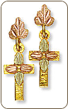 Black Hills Gold Cross Earrings with Leaves for Pierced Ears (SKU: A118PD)