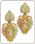 Black Hills Gold Earrings with Leaves and Grape Clusters for Pierced Ears (SKU: A136PD)