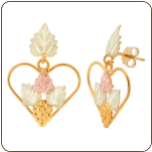 Black Hills Gold Earrings with Leaves in Hearts, for Pierced Ears (SKU: A176PD)