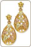 Black Hills Gold Earrings with Leaves and Grape Clusters (SKU: A185PD)