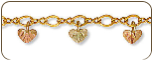 Black Hills Gold Ankle Bracelet with Heart-shaped  Leaves (SKU: B445A)