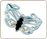 Sterling Silver Butterfly Bracelet with Black Hills Gold Leaves (SKU: BR3001SS)