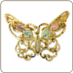 Black Hills Gold Butterfly Brooch / Pendant (SKU: BR405X)