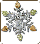 Sterling Silver Snowflake Brooch Pin with Snowman and Black Hills Gold Leaves (SKU: BR414SS)
