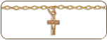 Black Hills Gold Cross Ankle Bracelet with Leaves (SKU: BR611A)