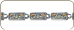 Sterling Silver Bracelet with Rectangular Links and Black Hills Gold Leaves (SKU: BR903SS)
