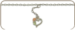 Sterling Silver Ankle Bracelet with dangling Heart and Leaves (SKU: BR934ASS)
