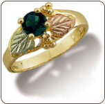 Black Hills Gold Ladies Ring with Synthetic Birthstone or Helenite (SKU: C290)
