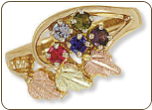 Black Hills Gold Mothers Ring with Birthstones (SKU: D2251)