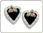 Sterling Silver Heart Earrings with Onyx (SKU: ER1688SS)