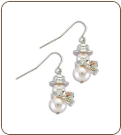 Sterling Silver and Pearl Snowman Earrings with Black Hills Gold Leaves (SKU: ER1934SS)