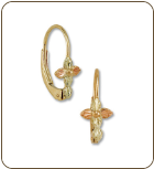 Black Hills Gold Leverback Cross Earrings with Leaves (SKU: ER375)