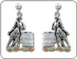 Sterling Silver Barrel Racer Earrings with Black Hills Gold Leaves (SKU: ER4040PDSS)