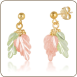 Black Hills Gold Earrings with Leaves and Grape Clusters for Pierced Ears (SKU: ER447)
