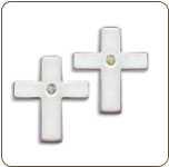 EE. Sterling Silver Diamond Cross Earrings (SKU: ER5008XSS)