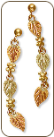 Black Hills Gold Earrings with Leaves and Grape Clusters for Pierced Ears (SKU: ER509)