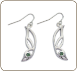Sterling Silver Butterfly Wing Earrings with Green Montana Sapphire (SKU: ER5103SS-933)