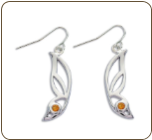 Sterling Silver Butterfly Wing Earrings with Yellow Montana Sapphire (SKU: ER5103SS-935)
