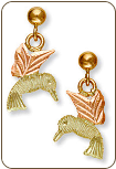 Black Hills Gold Hummingbird Earrings, for Pierced Ears (SKU: ER544)