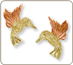 Black Hills Gold Hummingbird Earrings, for Pierced Ears (SKU: ER545)