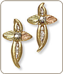 Black Hills Gold Cross Earrings with Diamonds (SKU: ER655X)