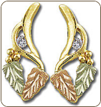 Black Hills Gold Earrings with Leaves and Diamond (SKU: ER770X)