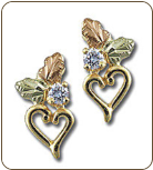 Black Hills Gold Heart Earrings with Black Hills Gold Leaves and Diamond (SKU: ER772PX)