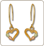 Black Hills Gold Heart Earrings with Black Hills Gold Leaves (SKU: ER827)
