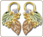 Black Hills Gold Earrings with Leaves and Diamond for pierced ears (SKU: ER835PX)