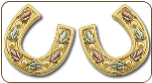 Black Hills Gold Horseshoe Earrings with Black Hills Gold Leaves (SKU: ER846P)