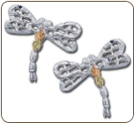 Sterling Silver Dragonfly Earrings with Black Hills Gold Leaves (SKU: ER863PSS)