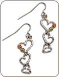 Sterling Silver Triple Heart Earrings with Black Hills Gold Leaves (SKU: ER879SS)