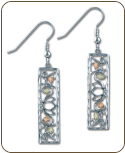 Black Hills Sterling Silver Rectangular Earrings with Leaves (SKU: ER924SS)