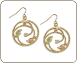 Black Hills Gold Earrings with Leaves and Diamond (SKU: ER939)