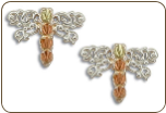 Sterling Silver Dragonfly Earrings with Black Hills Gold Leaves (SKU: ER947SS)