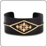 Powder Coated Black Cuff Bracelet with Black Hills Gold Leaves (SKU: BR3470-BLK)