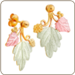 Black Hills Gold Classic Earrings with Leaves, for Pierced Ears (SKU: G LER333)