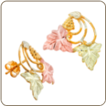 Black Hills Gold Earrings with Leaves and Grape Cluster for Pierced Ears (SKU: G LER77)