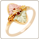 Ladies Classic Black Hills Gold Ring with Large Leaves (SKU: G LLR101)