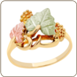 Ladies Classic Black Hills Gold Ring with Large Leaves (SKU: G LLR112)