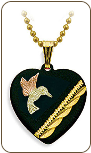 Black Hills Gold Hummingbird in Onyx Heart Pendant (SKU: PE3208)