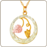 Black Hills Gold Circular Pendant with Leaves (SKU: G LPE86)