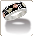 M. Ladies Sterling Silver Band with European Shank and Black Hills Gold Leaves (SKU: LR1043SS)