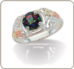 Ladies Mystic Fire Topaz Ring, in Sterling Black Hills Silver (SKU: LR127SS-471)