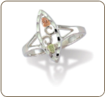 Sterling Silver Ladies Ring with Black Hills Gold Leaves (SKU: LR1940SS)